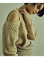 <little Suzie>Cut Out Shoulder Cable Knit(ls073)