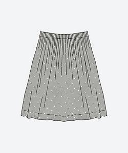 ウエストタックのスカート<C&Sオリジナル コットンリネンレジェールに林檎の刺しゅう>