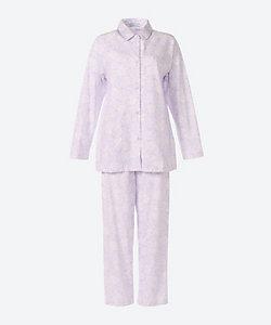 ★<三峰>天竺幾何バラ柄襟付きパジャマ(2192202)