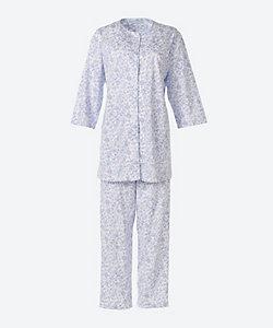 ★<三峰>天竺つた花柄七分袖パジャマ(ゆったりタイプ)(2202202)