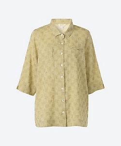 INDIGO/インディゴ ★綿麻ドット柄織り7分袖ブラウス(G20321LP)(クローバープラス)