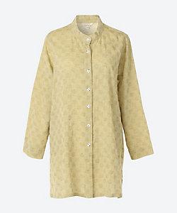 INDIGO/インディゴ ★綿麻ドット柄織りスタンドカラーブラウス(G20326LP)(クローバープラス)