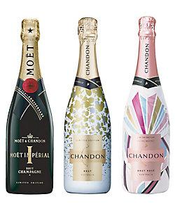 12.<モエ・エ・シャンドン>を含むスパークリングワイン限定デザインボトル3本セット