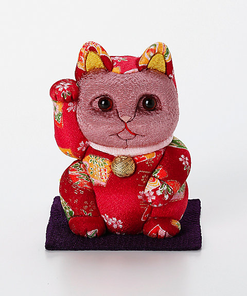 三越・伊勢丹オンラインストア<柿沼人形> 招き猫 小(友禅 赤) 【三越・伊勢丹/公式】