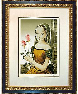 レオナール・フジタ 「花を持つ少女」(複製版画)