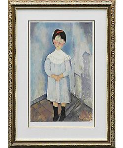モディリアーニ「青い服の少女」(複製版画)