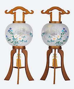 盆提灯・行灯/ボンチョウチン・アンドン 桂樹 二重張一対行灯芙蓉(斑鳩)
