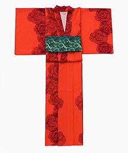 ISETAN YUKATA SELECTION 2019/イセタンユカタセレクション2019 Mariya Nishiuchi×ISETANprducedbyRumiRock 婦人プレタゆかた 線描き薔薇 赤
