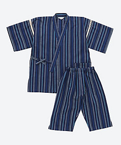 長尾織布/ナガオオリフ 紳士甚平 しじら織紺マルチストライプ NO15