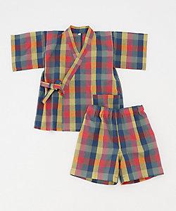 長尾織布/ナガオオリフ 子供用甚平 カラーチェック
