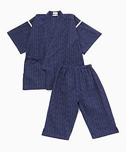 長尾織布/ナガオオリフ 紳士甚平 絣縞