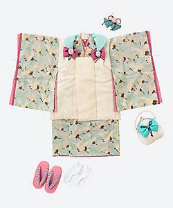 藤代工房/フジシロコウボウ 三歳お祝い着セット 鶴 水色
