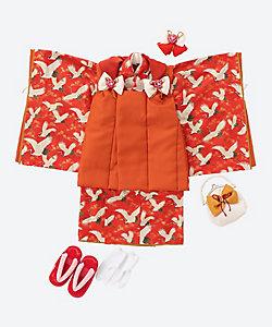 藤代工房/フジシロコウボウ 三歳お祝い着セット 鶴 オレンジ