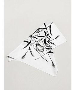 「年越しの贈り物」~しつらいと装い~/  石塚智之 墨手描き小風呂敷 ネコジャラシ