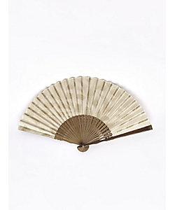 アトリエ・Kinami/アトリエキナミ ピーニャに落水紙扇子 7寸 リーフ 生成り