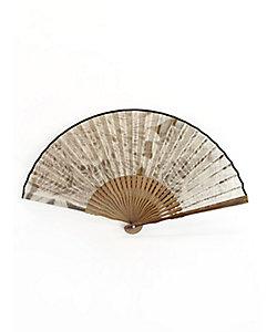 アトリエ・Kinami/アトリエキナミ ピーニャに落水紙扇子 7寸 牡丹 墨色地