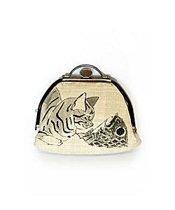 アトリエ・Kinami(石塚智之)/アトリエ・キナミ(イシヅカトモユキ) ムガシルク押し口ポーチ 猫と鯛