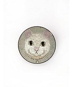 飯島桃子/イイジマモモコ ブローチ 猫(ブルー)