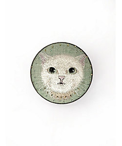 飯島桃子/イイジマモモコ ブローチ 猫(グリーン)