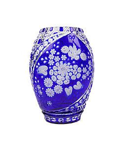 MEISSENER BLEIKRISTALL/マイセンクリスタル 色被せ花瓶「ミスティックフラワー」 ブルー