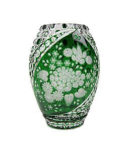 MEISSENER BLEIKRISTALL/マイセンクリスタル 色被せ花瓶「ミスティックフラワー」 グリーン