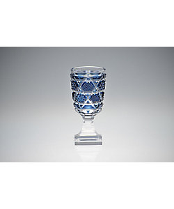 島津薩摩切子/シマヅサツマキリコ 脚付杯(中) 藍