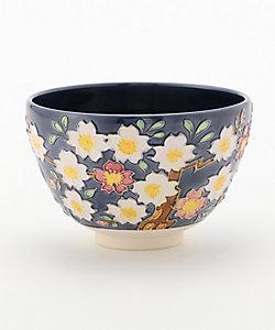 [小柳庸山] 茶碗 紺紫交趾 夜桜