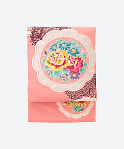 <Ponia-pon>仕立て上り絽名古屋帯 レースに薔薇と菊