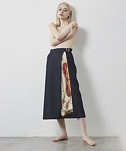 JAPAN DENIM(Women)/ジャパンデニム MUVEIL_SIDE SCARF PRINTED LONG FLARE SKIRT