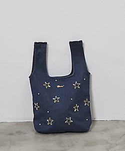 JAPAN DENIM(Women)/ジャパンデニム MUVEIL_STAR BIJOU DENIM FABRIC BAG
