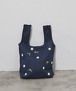JAPAN DENIM(Women)/ジャパンデニム MUVEIL_FLOWER BIJOU DENIM FABRIC BAG