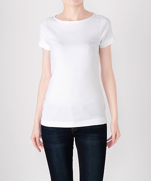 <スリードッツ/Three Dots> ボートネック半袖Tシャツ(AA1W033) 001WHITE 【三越・伊勢丹/公式】