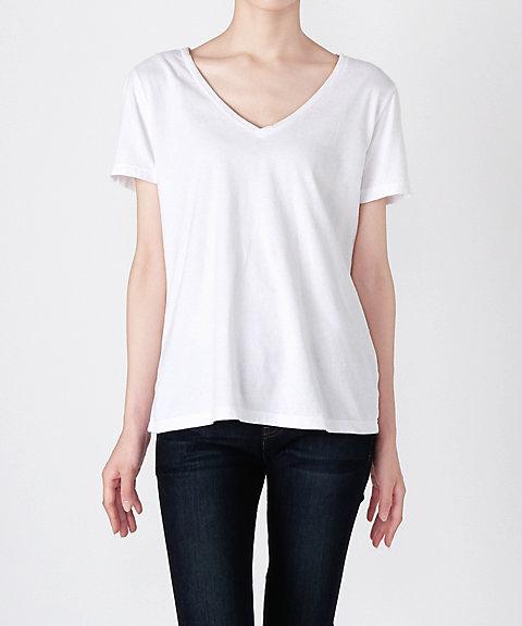 <スリードッツ/Three Dots> 【Brenda】Vネック半袖Tシャツ BO1438 001WHITE 【三越・伊勢丹/公式】