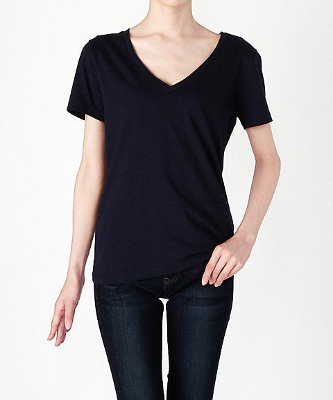 <スリードッツ/Three Dots> 【Brenda】Vネック半袖Tシャツ BO1438 781NIGHT I 【三越・伊勢丹/公式】
