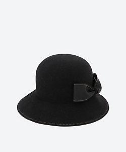 H.at(Woman)/エイチ.エイティー 丸められるリボンフェルト帽子