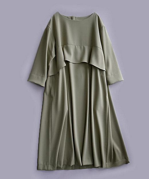<BASCO/バスコ> 大きいサイズ ジゼルドレス バスト下フリルのすっきりAラインドレス カーキ(54)【三越伊勢丹/公式】