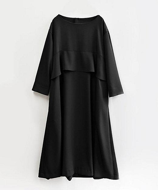 <BASCO/バスコ> 大きいサイズ ジゼルドレス バスト下フリルのすっきりAラインドレス 黒(05)【三越伊勢丹/公式】