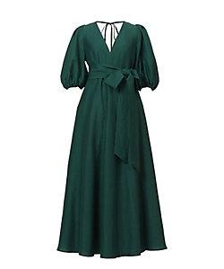 MYLAN/マイラン Shine Linen Vneck Maxi Dress