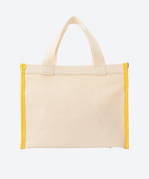 scalapped leather canvas tote M