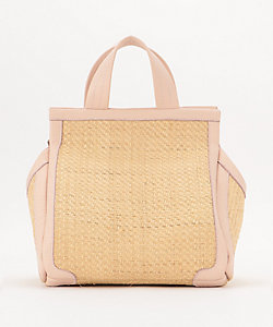 small leather-trimmed straw triangle tote