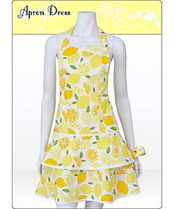 Syuku cocoro(Women)/シュクココロ 大人女性のためのフルーツ柄 レモン柄ハニーイエロー ティアードエプロン(シュシュ付き)