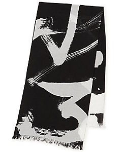 Y's(Women)/ワイズ CALLIGRAPHY PRINT BIG COTTON STOLE