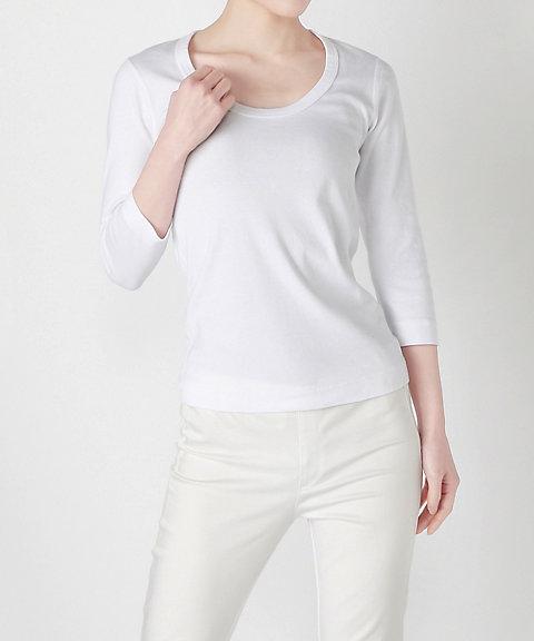 <スリードッツ/Three Dots> ジェシカ七分袖Tシャツ AA4S-041 001WHITE 【三越・伊勢丹/公式】