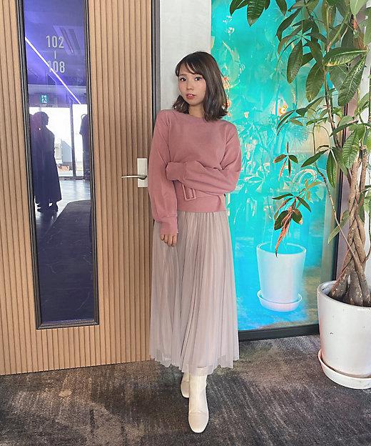 リバーシブルチュール×サテンスカート