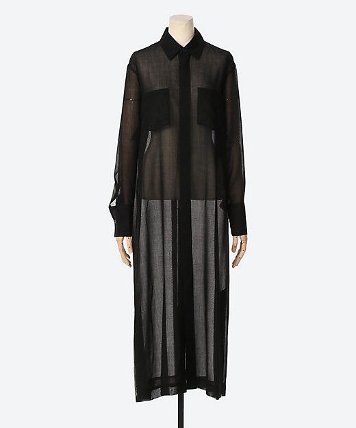 <AURALEE(Women)/オーラリー> WOOL RECYCLE POLYESTER SHEER CLOTH ONE-PIECE BLACK【三越伊勢丹/公式】