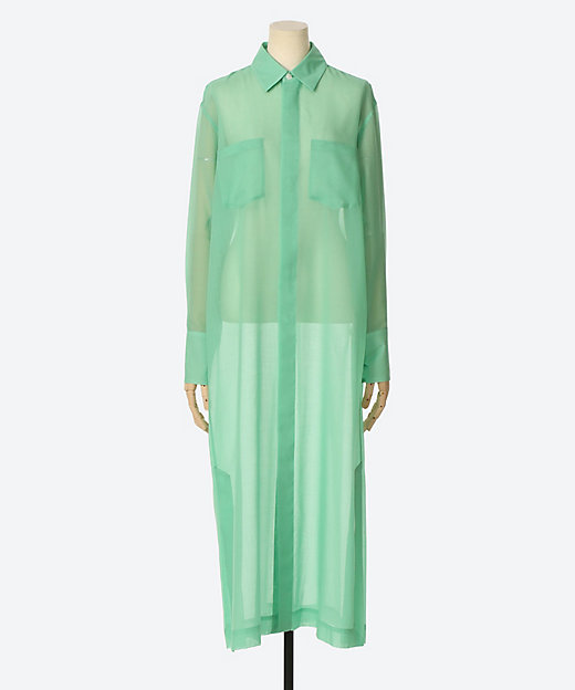 <AURALEE(Women)/オーラリー> WOOL RECYCLE POLYESTER SHEER CLOTH ONE-PIECE GREEN【三越伊勢丹/公式】