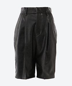 AKIRANAKA(Women)/アキラナカ Mia faux leather short pants BK