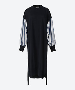 HYKE(Women)/ハイク CREW NECK SWEATER SHEER SLEEVE DRESS