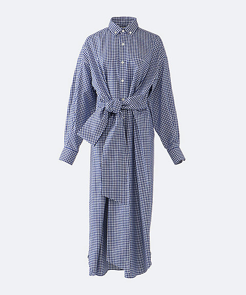 HYKE CHECKED SHIRT DRESS 18BLUExWHT
