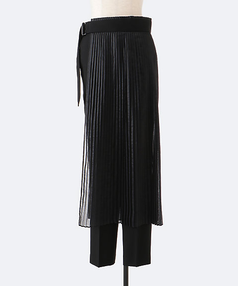 HYKE T/L LAYERED PLEATED SKIRT WITH PANTS